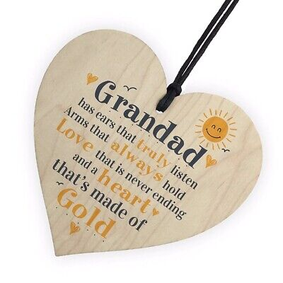 £2.99 • Buy Wooden Plaque Heart Present Sweet Message Grandad Gift Birthday Father's Day