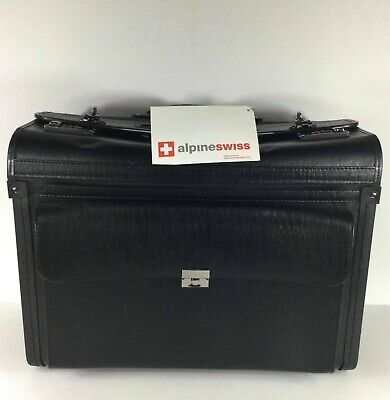 Alpine Swiss Blk Leather Attache Rolling Briefcase/Luggage Dual Combination Lock • 61.21£