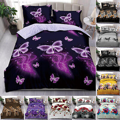 3D Complete Bedding Set 4 Pcs Duvet Cover + Fitted Sheet Single Double King Size • 22.49£