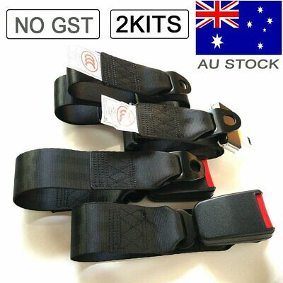 AU30.99 • Buy Black 2 Point Passenger Universal Seat Lap Sash Belt Kit Strap Buckle Seatbelt