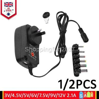 AU17.95 • Buy 3V 4.5V 5V 6V 7.5V 9V 12V 2.1A Universal AC DC Plug-in Power Wall Supply Adapter