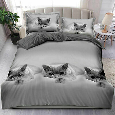 Luxury Grey Cat Duvet Cover King Size 4 Piece Animal Print Complete Bedding Set  • 22.49£