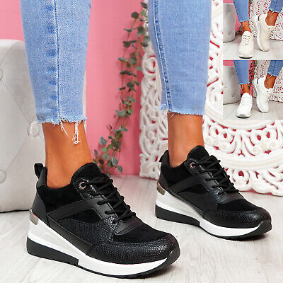 $ CDN28.97 • Buy Womens Ladies Snake Pattern Wedge Trainers Lace Up Platform Women Shoes Size
