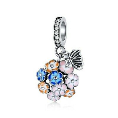 AU25.99 • Buy SOLID Sterling Silver Colourful Bouquet Hydrangea Flower Charm By Pandora's Wish