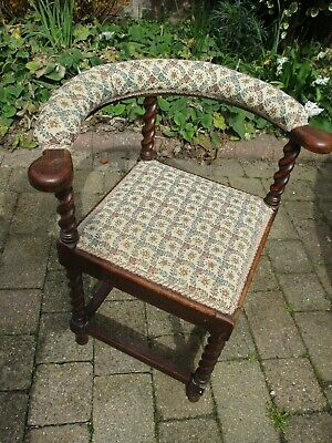 £150 • Buy Vintage/antique Corner Chair With Barley Twist Legs, Tapestry Seat And Back Rail