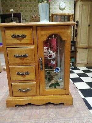 Vintage Style  Wardrobe Wooden Jewellery Box With 4 Pull Out Drawers Glass Door • 10£