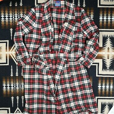 Vintage Pendleton Plaid Dressing Gown Checked House Coat Long Gown Wool 395 • 150£