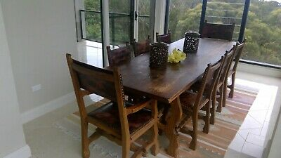 AU1000 • Buy Antique Solid Hardwood Dining Table, 8 Leather Trimmed Chairs And Buffett