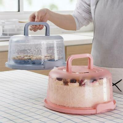 Round Plastic Cake Carrier Box Cake Container Transporter With Clear Lid • 6.51£