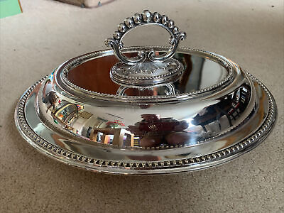 £34.99 • Buy 19c Silver Plate Oval Entree Dish Lid & Detachable Handle Cockerel Family Crest