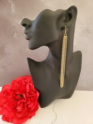 £6 • Buy Long Double Chain Earrings 18 Cms Drop Gold Tone Clip On Available
