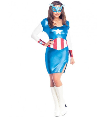 £14.99 • Buy Rubie's Marvel Miss American Dream Superhero Sexy Fancy Dress Costume - XS