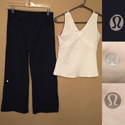 $ CDN49.99 • Buy Lululemon Lot Of 2 Navy Blue Pants With 2 Pockets & White Tank Top Size 6 Woman