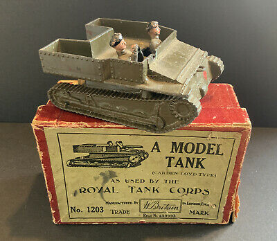 Britains - A Model Tank No.1203, Carden Loyd Type, 2 Soldiers, Original Box • 39.99£