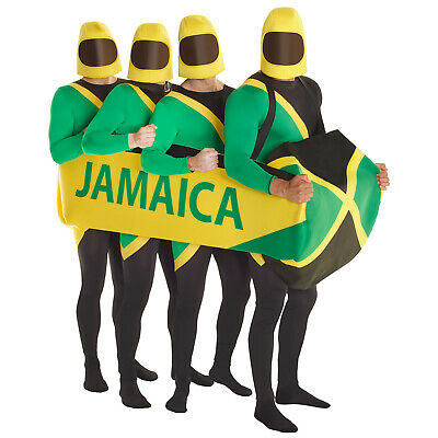 AU64.09 • Buy Jamaican Bobsled Rider Fancy Dress Costume 90s Bobsleigh Morphsuit Sled Team