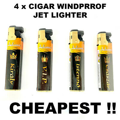 £3.89 • Buy 4 X GOLD LIGHTER CIGAR WINDPROOF TURBO JET FLAME ELECTRONIC LIGHTER (Refillable