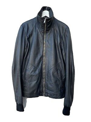 Rick Owens Intarsia High Neck Leather Jacket L • 736.06£