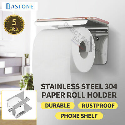 AU35.30 • Buy Toilet Paper Holder Thickened Stainless Steel Tissue Roll Dispenser Phone Shelf