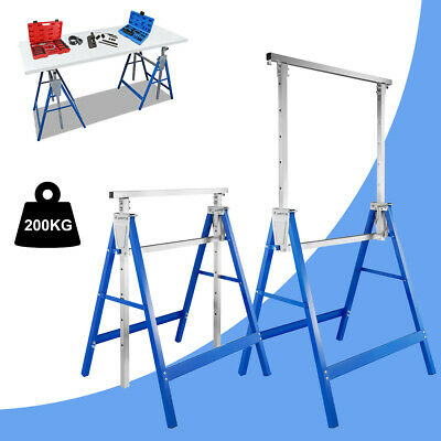 Heavy Duty Steel Saw Horse Folding Twin Pack 200kg Capacity Stands Work 80-130cm • 44.99£