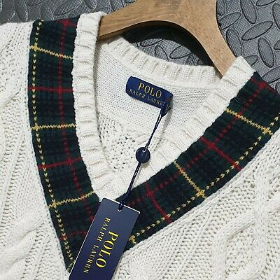 $222.21 • Buy ⭐ Polo Ralph Lauren St Andrews Cable Knit Sweater Cricket Jumper Sweater Size XL