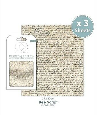 £3.49 • Buy Craft Consortium Decoupage Papers Pack 3 Sheets X 23gsm - Bee Script