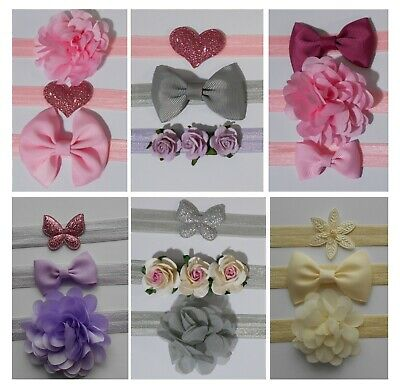 3 Piece Set Baby Headband Hairband- Bow Flower Heart Butterfly Elastic All Sizes • 3.20£