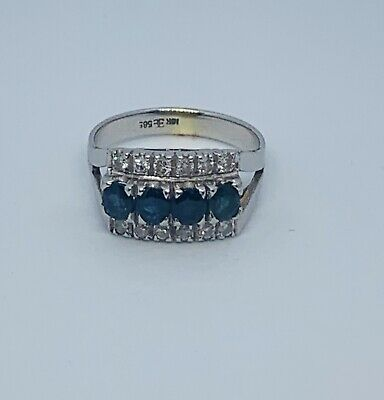 AU585 • Buy 14ct White Gold Sapphire And Diamond Ring