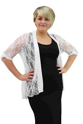 £13.75 • Buy New Plus Size Ladies Floral Lace Open Waterfall Cardigan 3/4 Button Gem Sleeve