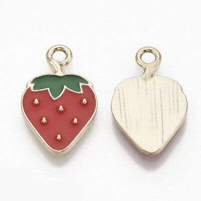 £6.15 • Buy 10 Bright Summer Strawberry Shaped Gold Plated Charm Pendants With Enamel Detail