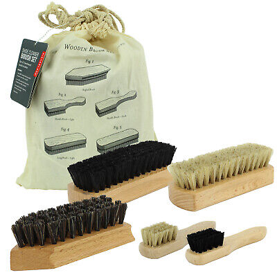 £8.99 • Buy Wooden Shoe Leather Care Cleaner Polish Polisher Clothes Brush Set Boot Waxing