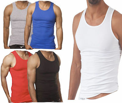 £2.99 • Buy 1,3 Pack  Mens White Vests Fitted Cotton Gym Training Tank Summer Top New