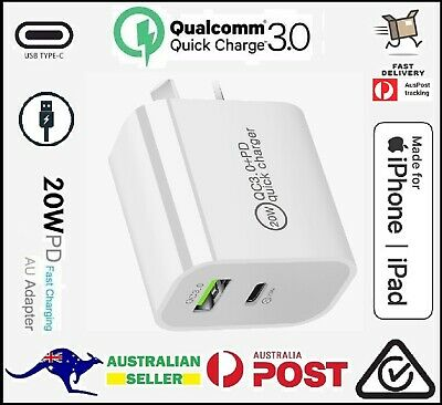 AU15.90 • Buy IPhone 12 USB C 20W Ipad Fast Wall Charger Type C Dual Port Plug Power Adapter