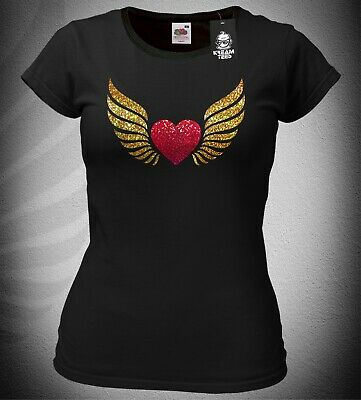 £9.95 • Buy Ladies Slim-Fit Heart With Angel Wings T-Shirt Top Sparkly Glittery Biker