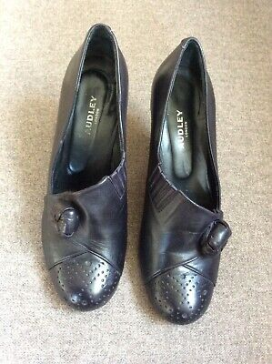 Audley London Black Leather Heeled Shoes With Rosette Size 37 • 3£