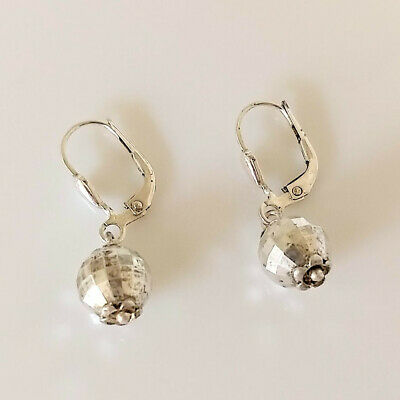 $ CDN27.81 • Buy QVC Sterling Silver 925 Leverback Faceted Disco Ball Earrings - Vintage