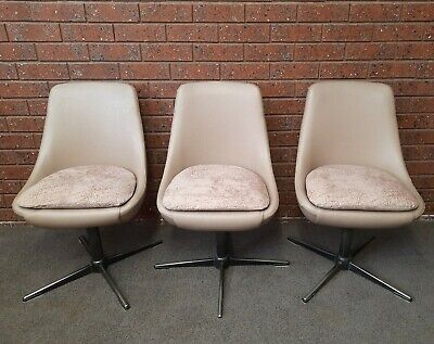 AU330 • Buy 3 X Retro Mid Century Funky Swivel Pod Dining Chairs  - Possibly KENDALL