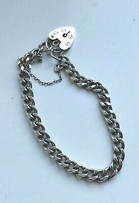 Vintage Silver Charm Bracelet With Heart Padlock & Safety Chain. Hallmarked.  • 9.99£