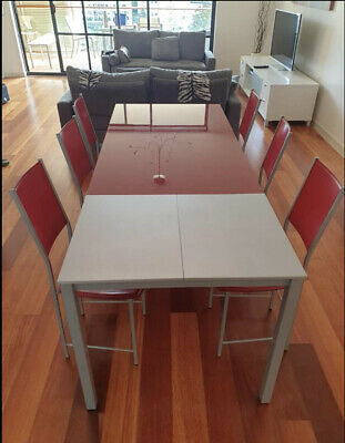 AU300 • Buy Extendable Italian Designer Dining Table With 8 Genuine Leather Chairs