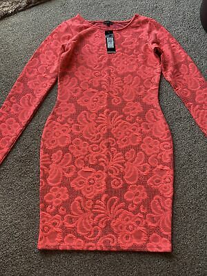 Bodycon Lace Style Long Sleeved Coral Dress - River Island - Size 10 - Brand New • 10£