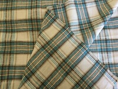 £7.95 • Buy Turquoise Blue Checked Linen Blend Fabric