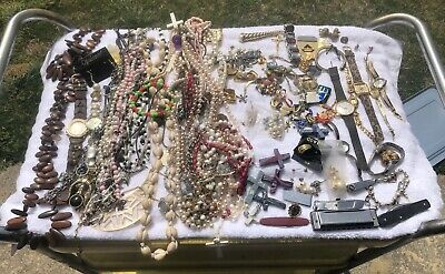 $ CDN18.83 • Buy HUGE VINTAGE TO NOW Estate JEWELRY LOT Necklaces BLING 5 + Lbs Watches Earrings