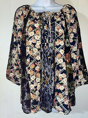 $ CDN23.05 • Buy Large Top Anthropologie Fig And Flower Lace Sleeves Floral Boho Look