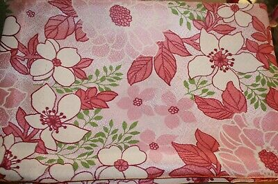 £14.99 • Buy Vintage Retro Fibreglass Fabric Single Curtain Pink/White/Green 60s 70s 45 X 34