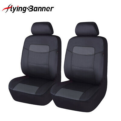 AU37.99 • Buy 2 Car Seat Covers Leather Universal Front Set Grey Gray Black Airbag Compatible