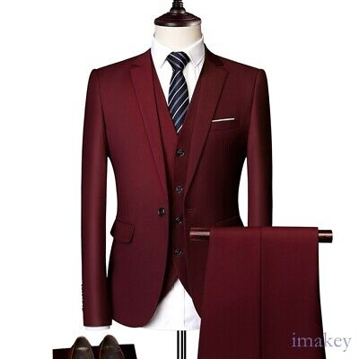 $ CDN128.41 • Buy Mens Three-piece Business Casual Suit Tuxedos Wedding Groom One Button Slim Fit