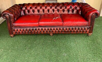 Original Vintage Chesterfid Oxblood 3 Piece Suite. 5 Seat, Club Chair,Wingback • 500£