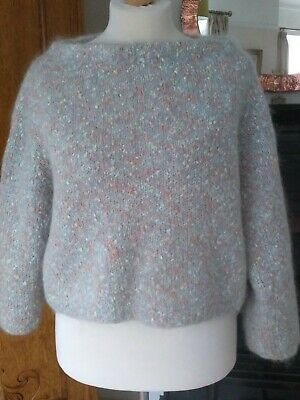 Hand Knit Slouchy Off Shoulder Oversized  Jumper Mixed Yarn 14/18 • 12.20£