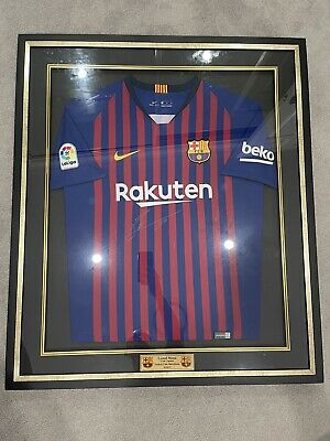 AU1599 • Buy 2018/19 Signed Framed Lionel Messi Jersey By Icons Sports Memorabilia