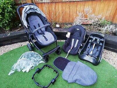 Graco Evo Travel System 3 In 1 - Pram/Buggy, Car Seat, Base, Adapter, Raincover • 45£