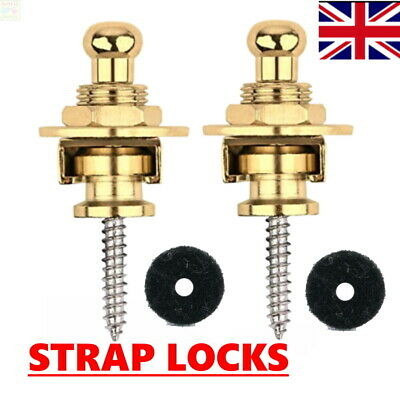 $ CDN9.07 • Buy GOLD STRAP LOCKS Guitar Locking Buttons Fasteners Screw Electric SAFETY SECURE✅✅